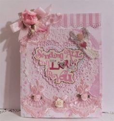 """Sending all my Love to You"" handmade card w/ envelope CTD  Shabby chic Valentine"