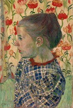 Cuno Amiet (Swiss, 1868-1961) Girl in Flowers (Mädchen in Blumen), 1900 Oil on canvas, 46,5 x 32 cm