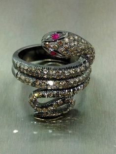 Champagne Diamond and Ruby Snake Ring by KCDDiamonds on Etsy, $790.00