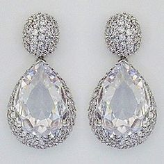 Glamorous wedding earrings & evening earrings designed by Modital Bijoux.  CZ teardrop earrings that are fabulous for brides or a black tie affair. Imported from Italy.  Find it at Perfect Details.