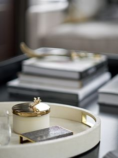 Coffee table styling, inspiration, ideas, coffee table tray, gold detail, gold accents, coffee table books