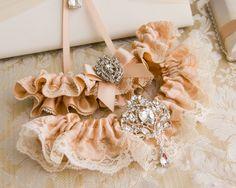 Blush Bridal garter set, Crystal Blush Wedding Garter set, Ivory Lace Garter, Lace Wedding Garter, Ivory Garter Set by GarterQueen on Etsy
