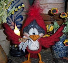 "Primitive Cardinal Red Bird Fuzzy 6"" Bear Doll Vtg Patti's Ratties"