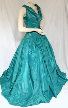 ~teal evening gown 1950s~