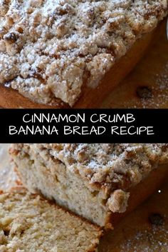 21 Best Banana Bread Recipes This Cinnamon Crumb Banana Bread is the perfect combination of moist banana bread and a crumbly coffee cake topping. It is a crowd pleaser! Sour Cream Banana Bread, Banana Bread Muffins, Healthy Banana Bread, Chocolate Chip Banana Bread, Chocolate Chip Recipes, Banana Bread No Eggs, Whole Wheat Banana Bread, Baked Banana, Healthy Bread Recipes