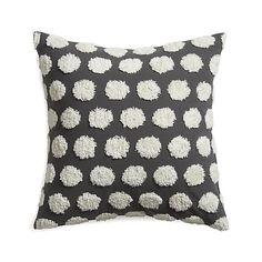 """chenille white polka dots + slate grey hob nail 23"""" pillow"""