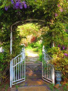 Garden gate surrounded by flowers...sideyard gate idea?