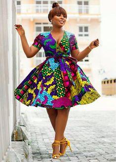 African Print Wrap Dress- Flare Dress - Ankara -Ankara Print -African Dress -Handmade - Africa Clothing - African Fashion at Diyanu Short African Dresses, Latest African Fashion Dresses, African Print Dresses, African Print Fashion, African Prints, African Dress Styles, Modern African Fashion, Ankara Fashion, Africa Fashion