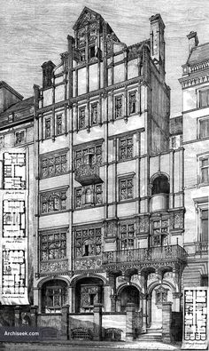 1875 – New House, Queen's Gate, South Kensington, London  Architect: Richard Norman Shaw   Perspective View including basement & all floor plans published in The Building News, June 4th 1875.  0208