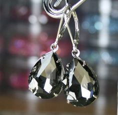Vintage Jeweled Earrings in Black Diamond - Estate Style Crystal Earrings - Sterling Silver Lever Backs - Free Shipping