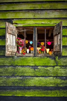 color-filled little windows in the wall of a moss covered shed....great colors ~ photo by Sussie Bell