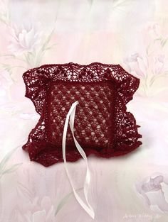 Elegant Lace Ring Bearer Pillow Hand-knitted by ArtanisWeddingLace