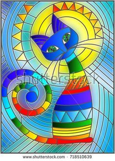Illustration in stained glass style with abstract geometric cat #StainedGlassAbstract