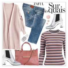 """Zaful"" by teoecar ❤ liked on Polyvore featuring GUESS, Yves Saint Laurent, Topshop and Essie"