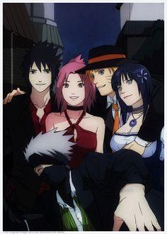 Sasuke, Sakura, Naruto, Hinata, Kakashi