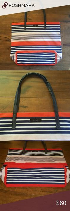 NWOT Authentic Kate Spade Tote 👜 This a Kate Spade Tote, that is brand new without the tags. Bought and never ended up using, as I have so many! The colors are red, navy blue, white, and light pink. There is no zipper, nor are there any pockets. Simply a roomy tote! Perfect to take to the beach, or use as a carry-on for travel. Tags and measurements can be seen in the last 4 pictures. kate spade Bags Totes