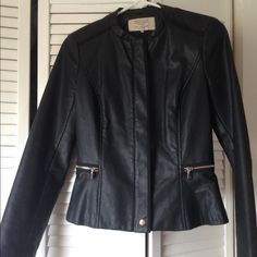 Zara peplum leather jacket Zara leather jacket!! Very famine,wore twice n thrice but in superb condition..Feel free to negotiate price in offer!! Zara Jackets & Coats