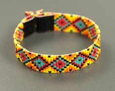 Items similar to Stained Glass Twist Bead Loom Bracelet Bohemian Boho Artisanal Jewelry Western Bead Santa Fe Native American Inspired Southwestern on Etsy Loom Bracelet Patterns, Bead Loom Bracelets, Bead Loom Patterns, Beading Patterns, Jewelry Bracelets, Motifs Perler, Native Beadwork, Bijoux Diy, Loom Beading
