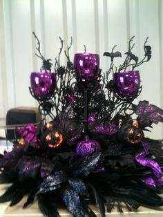 Purple and black Halloween home decor