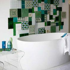 eclectic green tiles bathrom