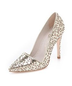 Intricate cutwork on these metallic shoes gives them a wonderfully lacy, feminine look. #Gorgeous #Wedding #Shoes