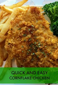 This crispy cornflake chicken is a delicious and easy alternative to fried chicken. It is also a fun recipe to make with your kids. Baked Fried Chicken, Fried Chicken Recipes, Cornflake Chicken Recipe, Fried Chicken With Cornflakes Recipe, Cooking Recipes, Healthy Recipes, Easy Recipes, Fun Cooking, Chef Recipes