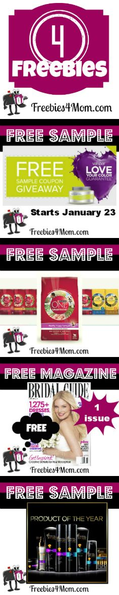 4 Freebies: Valspar Paint sample, Purina ONE sample, Bridal Guide magazine, and Pantene Expert sample http://freebies4mom.com/category/1-freebies/freebies-by-mail/