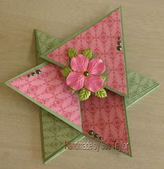 Triangle Star Card Tutorial - Must click Stamp Owl link for tutorial.
