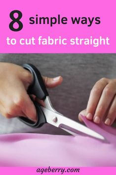 This is a sewing tutorial with images and video on cutting fabric (woven and knit) perfectly straight. Many sewing tips on cutting fabric, sewing for beginners, learn to sew. Sewing Projects For Beginners, Sewing Tutorials, Sewing Hacks, Sewing Tips, Sewing Crafts, Sewing Lessons, Sewing Basics, Sewing Ideas, Buy Fabric