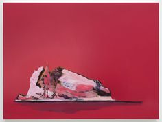 "Whitney Bedford, ""Untitled Pink Iceberg (Liebling)"", 2010, Ink and oil on panel, 18"" x 24"""
