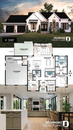 Brick House Plans, Modern House Floor Plans, Sims House Plans, Open House Plans, Craftsman House Plans, Modern Farmhouse Floor Plans, Bungalow House Plans, Modern Architecture House, Modern Houses