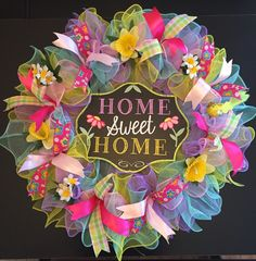 Spring Wreath, Summer Wreath, Welcome Wreath, Vibrant Wreath, Colorful Wreath by CreationsByRunco on Etsy
