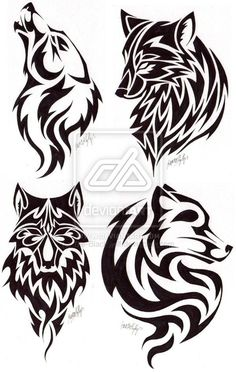 Image result for simple tribal tattoos of a wolf