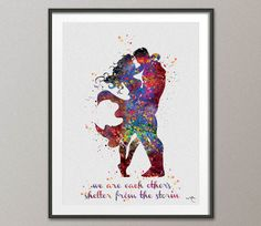 Superman and Wonder Woman Love Quote Watercolor by CocoMilla