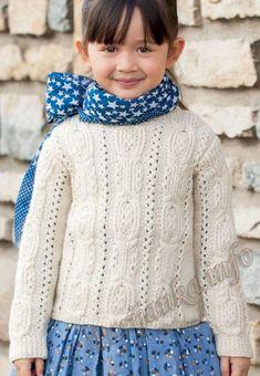Пуловер (д) 14*124 Phildar Размеры: a) 4 года – b) 6 лет – c) 8/10 лет – d) 12 лет – e) 14/16 лет