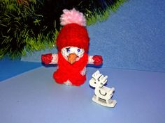 #Crochet snowman with a #red #scarf and #hat