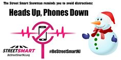 Winter Safety Tips from the Street Smart NJ pedestrian safety campaign. Avoid distracted driving and walking. #BeStreetSmartNJ