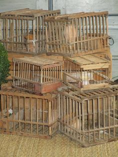 These charming birdcages are made from European Beech. Traditionally used by hunters to house a thrush (grive). The birds' cry would attract others for the hunters to find. Thrush's migrate to Provence for the winter to escape the cold of the East, in time for the Provençal hunting season. We prefer to enjoy the birdcages' decorative quality! 16cm wide x 24cm long, 17cm high The birdcages are priced individually. Pricing includes standard air delivery to USA, Canada & Australia.