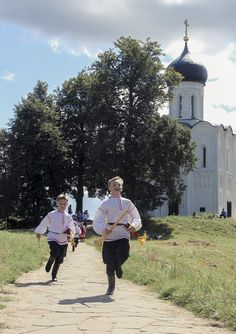 Two Russian boys in traditional costumes. #kids