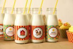 barnyard party milk bottles