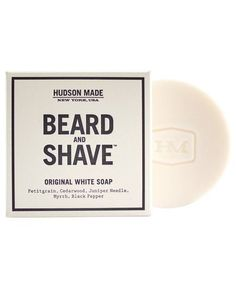 Hudson Made Beard and Shave Soap in Original White | Find unique ideas sure to thrill all of the men in your life from our 2015 Christmas and Holiday Gift Guide.