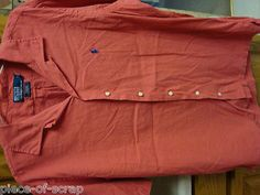 $26 RALPH LAUREN POLO Mens Short sleeve Button Front Shirt size LARGE L. Dress shirt is Coral orange in color with royal blue pony logo on chest. Camp shirt Curham Classic Fit.  http://www.piece-of-scrap.com