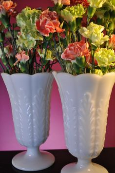 Vintage Large Milk Glass Vase by EO Brody For by ClassicCabin