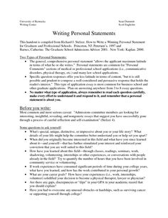 Help on writing a personal statement