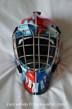 Canada Croation Theme Goalie Mask - Airbrushing by Cam Wilson www.hockeyartist.com