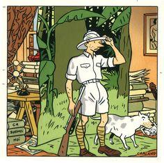 """Yves Chaland (1957 - 1990)was een Frans stripauteur, bekend als tekenaar van de stripheld Bob Fish. Belangrijke stripseries van deze auteur zijn Freddy Lombard en De jonge Albert. Daarnaast maakte hij reclametekeningen en was hij één van de grondleggers van de Atoomstijl. """"L' exporateur"""", 1990, Safarix - Musée de la chasse et de la nature"""
