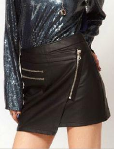 #SheInside  Black PU Draped Front Zip Embellished Short Skirt