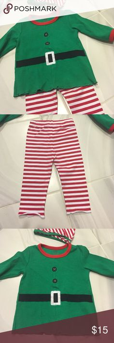 🚩Cute Christmas outfit 6-12 months New with tags red and white leggings, top and hat. Tag says 6-12. Looks more like 9-12 months. Please let me know if you have any questions Matching Sets