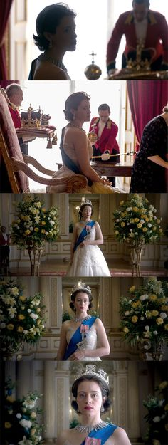 """One of my absolutely, most favorite gowns and scenes in """"The Crown."""" Claire Foy is a dream."""