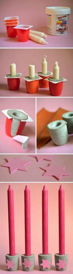 Portavelas con cemento y potes de yogur! | Manualidades Gratis